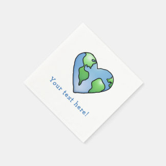 Fun Earth Heart Shaded Cartoon Style Icon Paper Serviettes