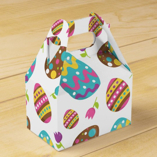Fun Easter eggs and flowers party favour box