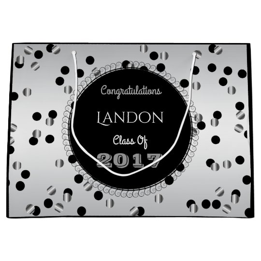 Fun & Elegant Silver & Black Graduation Large Gift Bag