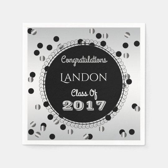 Fun & Elegant Silver & Black Graduation Paper Napkin