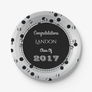 Fun & Elegant Silver & Black Graduation Paper Plate