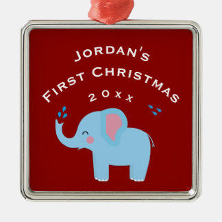 Fun Elephant Baby's 1st First Christmas Gift Red Christmas Ornament