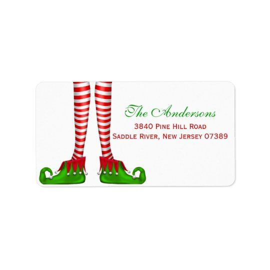 Fun elf Christmas Address Label