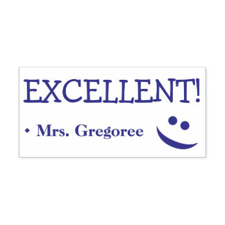 """Fun """"EXCELLENT!"""" + Teacher's Name Rubber Stamp"""