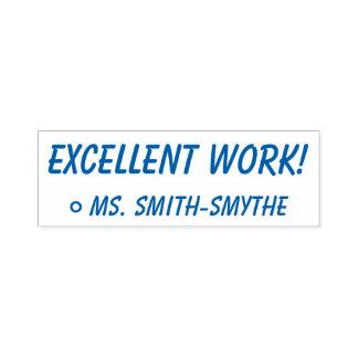 "Fun ""EXCELLENT WORK!"" + Teacher Name Rubber Stamp"