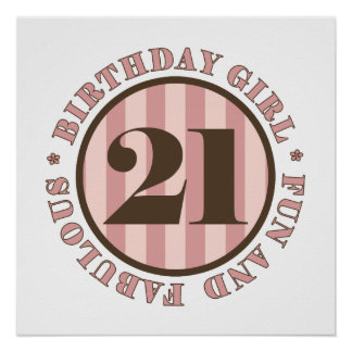 Fun & Fabulous 21st Birthday Gifts Posters