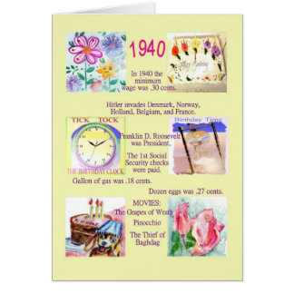 Fun Facts about the past year 1940 Card