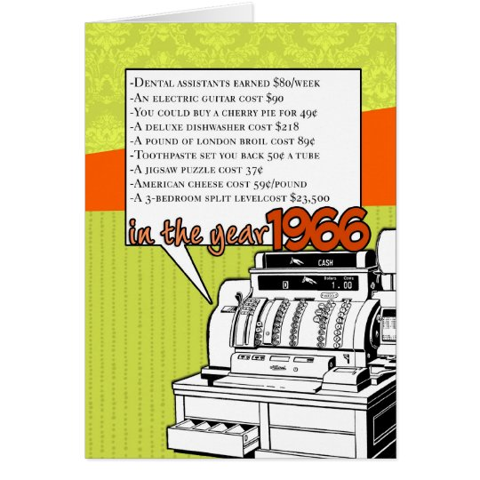 Fun Facts Birthday – Cost of Living in 1966 Card