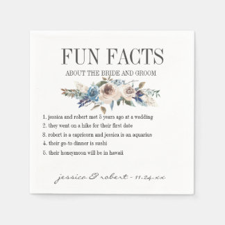 Fun Facts Floral Personalized Paper Napkin