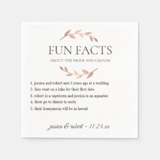 Fun Facts Rose Gold Personalised Paper Napkins