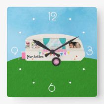 Fun Family Caravan personalised add photos Square Wall Clock