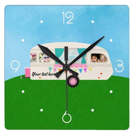 Fun Family Caravan personalised add photos Square Wall