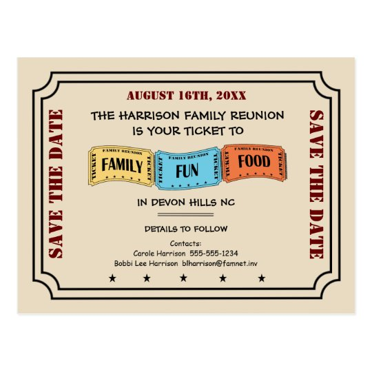 Fun Family Reunion Ticket to Save the Date