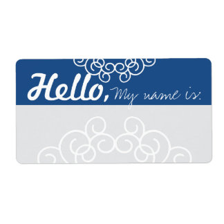 Fun Fancy Party Name Tags - Blue & Gray Shipping Label