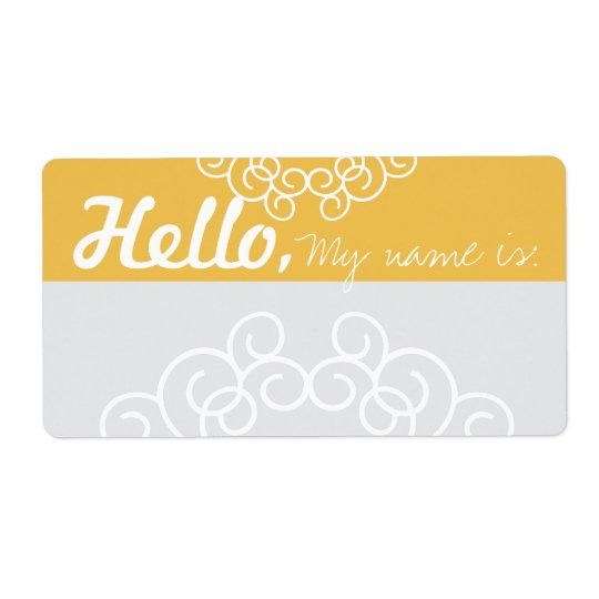 Fun Fancy Party Name Tags - Yellow & Grey