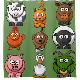 Fun Farm Animals Shower Curtain