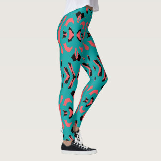 Fun Fashion Leggings-Women-Blue/Coral/Black Leggings