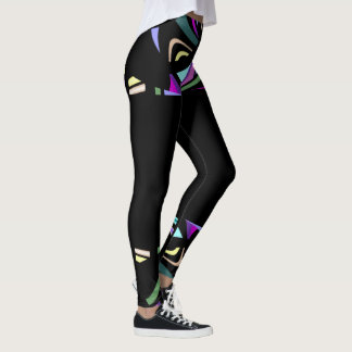 Fun Fashion Leggings-Women-Multicolored on Black Leggings