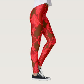Fun Fashion Leggings-Women-Red/Brown Leggings