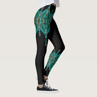 Fun Fashion Leggings-Women-Turquoise/Teal/Black Leggings