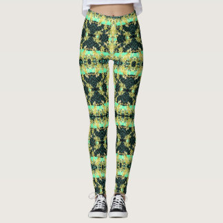 Fun Fashion Leggings--Women-Yellow/Green/Aqua Leggings