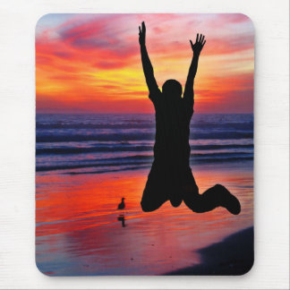 Fun Father's Day Beach Jump Mouse Pad