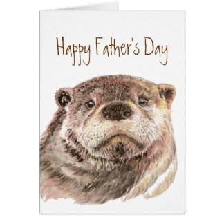 Fun Father's Day Custom Cute Otter Nature Wildlife Greeting Card