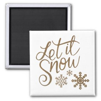 Fun Faux Gold Let it Snow Typography & Snowflakes Magnet