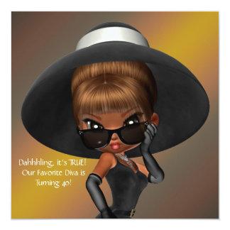 Fun Favorite Diva Birthday Party 13 Cm X 13 Cm Square Invitation Card