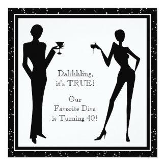 Fun Favorite Diva Womans Black 40th Birthday Party 13 Cm X 13 Cm Square Invitation Card