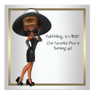 Fun Favorite Diva Womans Black 40th Birthday Party Invitations