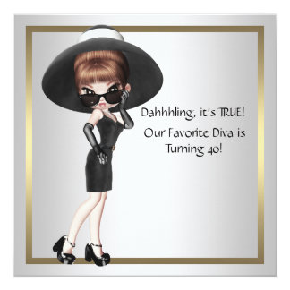 Fun Favorite Diva Womans Black 40th Birthday Party Custom Announcement