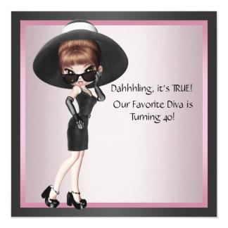 Fun Favorite Diva Womans Pink Black 40th Birthday 13 Cm X 13 Cm Square Invitation Card