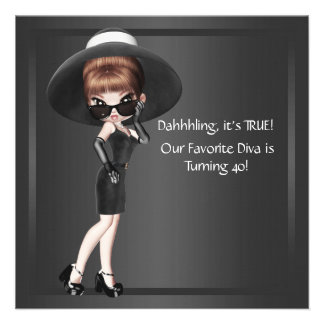 Fun Favourite Diva Womans Black 40th Birthday Part Personalised Invites