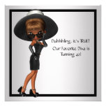 Fun Favourite Diva Womans Black 40th Birthday Part Personalised Announcements