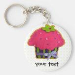Fun felt glitter cupcake basic round button key ring