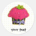 Fun felt glitter cupcake round stickers