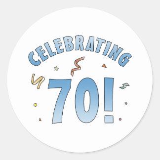 Fun Festive 70th Birthday Gifts Round Sticker