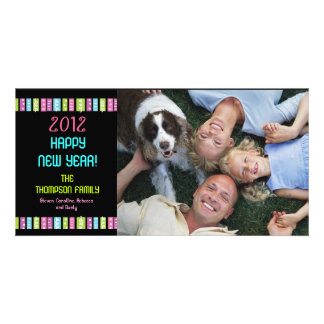Fun Festive Bright Happy New Year Celebration Customized Photo Card