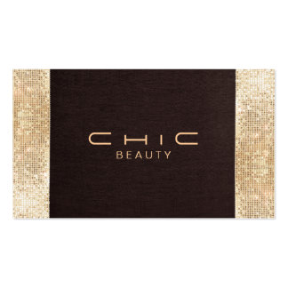 Fun Festive Brown Linen FAUX Gold Sequin Beauty Pack Of Standard Business Cards