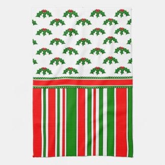 Fun, Festive Holly and Stripes Patterns Tea Towel
