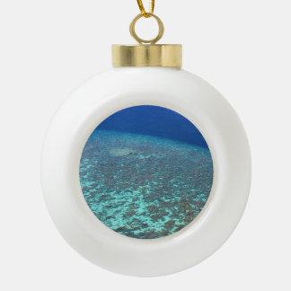 Fun Festive Maldives Ocean Reefs Custom Ceramic Ball Christmas Ornament