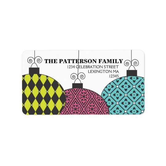 Fun Festive Modern Patterned Ornaments Address Address Label