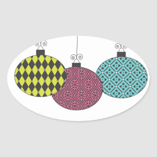 Fun Festive Modern Patterned Ornaments Oval Sticker