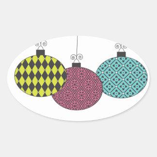 Fun Festive Modern Patterned Ornaments Oval Sticker