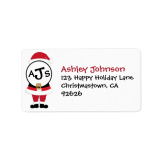 Fun Festive Monogram Santa Christmas Address Label