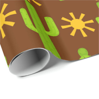 Fun Fiesta cactus pattern party wrap Wrapping Paper
