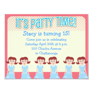 Fun Fifties Girl Party Time Custom Announcements