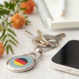 Fun Filled, Round flag of Germany Silver-Colored Oval Key Ring
