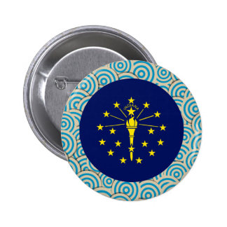 Fun Filled, Round flag of Indiana 6 Cm Round Badge